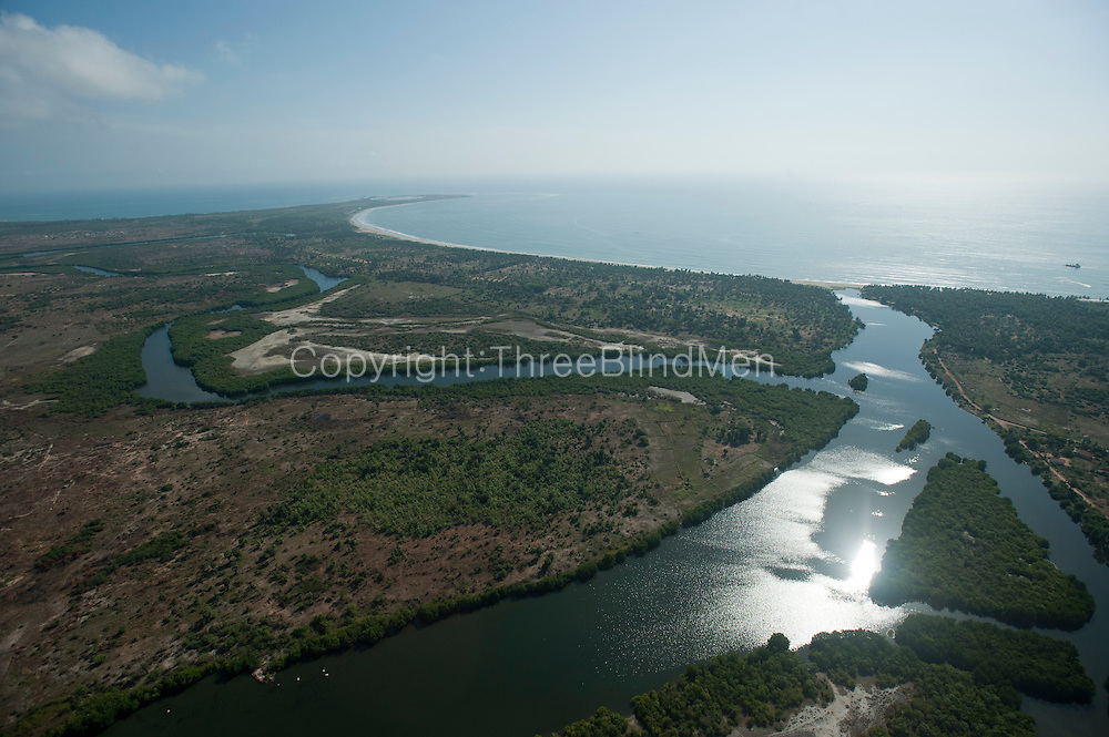 Aerial view of lagoon and East Coast near Valachchenai. Looking over Vandeloos Bay.