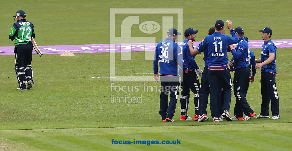 English players celebrate after Niall O'Brien of Ireland caught behind by James Woods during the One Day International match at the Village, Malahide<br /> Picture by Lorraine O'Sullivan/Focus Images Ltd +353 872341584<br /> 08/05/2015