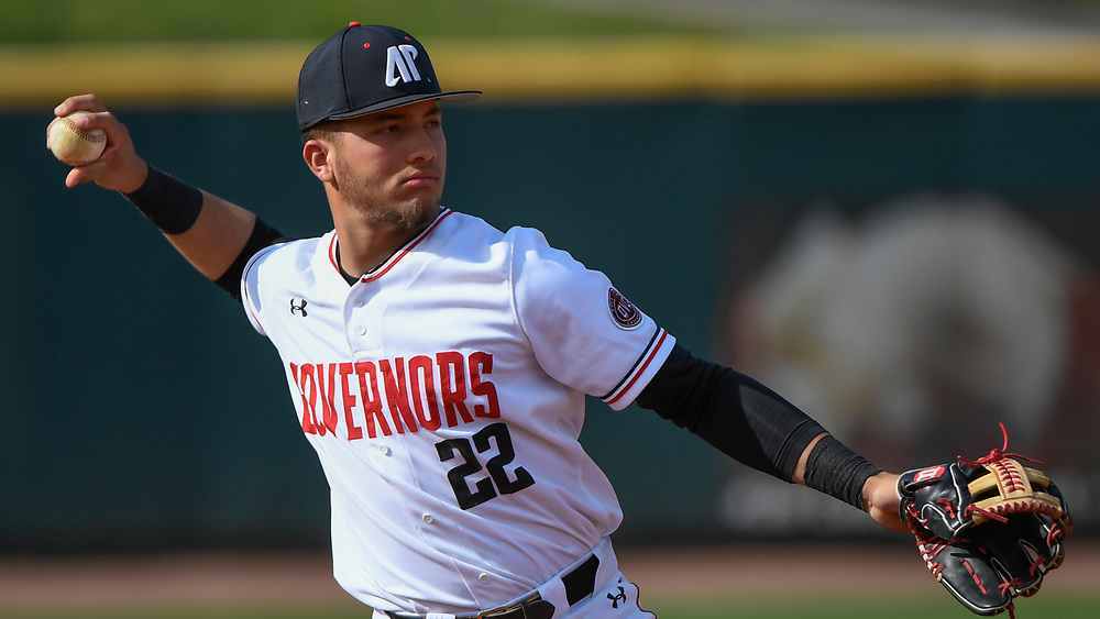 during a NCAA college baseball game, between the Austin Peay Governors and  Southern Illinois Salukis Tuesday, April 16, 2019, in Clarksville, Tenn. (AP Photo/Mickey Bernal)
