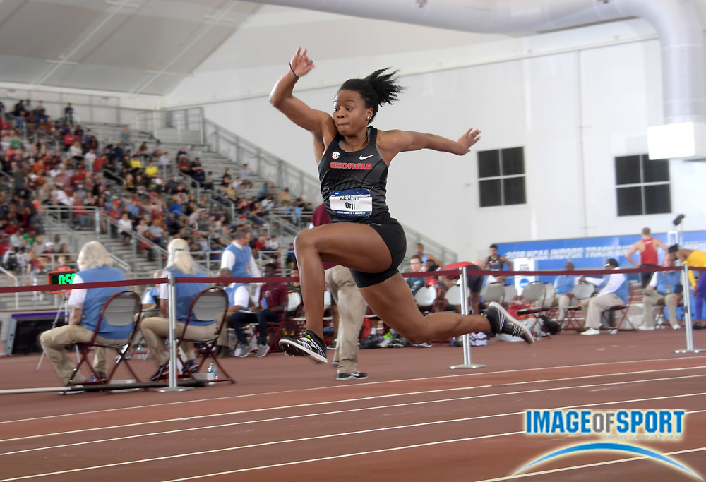 Mar 10, 2018; College Station, TX, USA; Keturah Orji of Georgia wins the women's triple jump in a meet record 46-10 (14.27m) during the NCAA Indoor Track and Field Championships at the McFerrin Athletic Center.