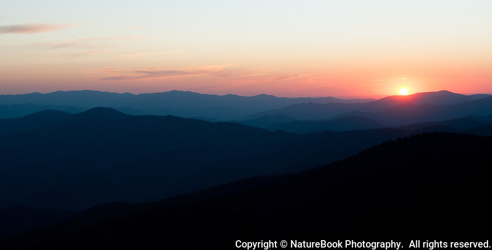 Sunset over the Smokies from Clingman's Dome in Great Smoky Mountains National Park.