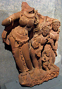 River god (Yamuna?). Post-Gupta period (6th-8th century AD) sandstone sculpture from Madhya Pradesh, India.