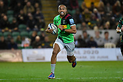 Harlequins fullback Aaron Morris (15) runs with the ball during the Gallagher Premiership Rugby match between Northampton Saints and Harlequins at Franklins Gardens, Northampton, United Kingdom on 1 November 2019.