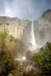 """Bridalveil Fall, Yosemite""- This rainbow at the base of the 620 foot waterfall can often be seen in the afternoon. But plan on getting wet."