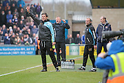 Bristol Rovers manager Darrell Clarke barks out orders in the Sky Bet League 2 match between Northampton Town and Bristol Rovers at Sixfields Stadium, Northampton, England on 9 April 2016. Photo by Nigel Cole.