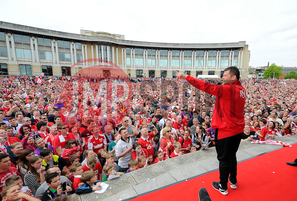 Bristol City manager, Steve Cotterill addresses the thousands of fans gathered at the amphitheatre in Bristol  - Photo mandatory by-line: Joe Meredith/JMP - Mobile: 07966 386802 - 04/05/2015 - SPORT - Football - Bristol -  - Bristol City Celebration Tour