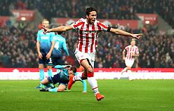 Ramadan Sobhi of Stoke City celebrates scoring a goal although it is awarded as an own goal - Mandatory by-line: Robbie Stephenson/JMP - 31/10/2016 - FOOTBALL - Bet365 Stadium - Stoke-on-Trent, England - Stoke City v Swansea City - Premier League