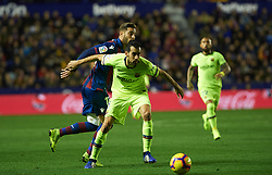 December 16, 2018 - Valencia, Valencia, Spain - Ruben Rochina of Levante UD and Sergio Busquets of FC Barcelona during the La Liga match between Levante UD and FC Barcelona at Ciutat de Valencia Stadium on December 16, 2018 in Valencia, Spain. (Credit Image: © AFP7 via ZUMA Wire)