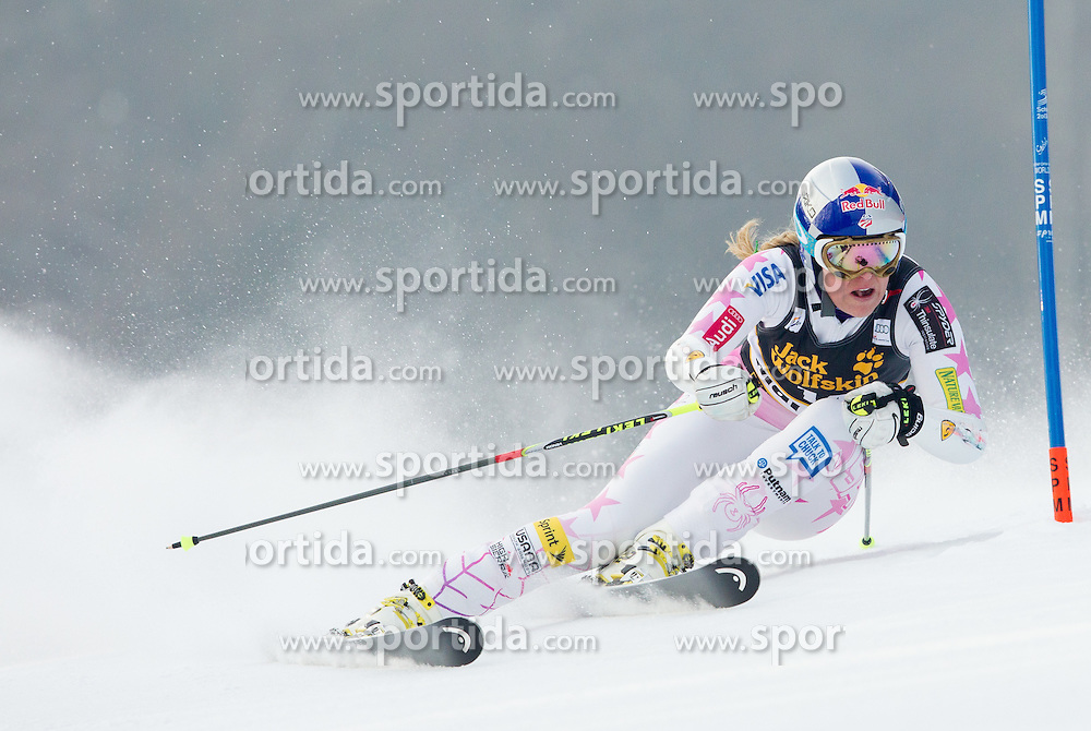 """VONN Lindsey of USA competes during 1st Run of FIS Alpine Ski World Cup 7th Ladies' Giant Slalom race named """"49th Golden Fox 2013"""", on January 26, 2013 in Mariborsko Pohorje, Maribor, Slovenia. (Photo By Vid Ponikvar / Sportida.com)"""