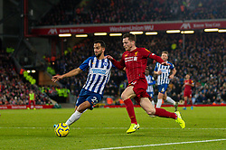 LIVERPOOL, ENGLAND - Saturday, November 30, 2019: Liverpool's Andy Robertson (R) and Brighton & Hove Albion's Martín Montoya during the FA Premier League match between Liverpool FC and Brighton & Hove Albion FC at Anfield. (Pic by David Rawcliffe/Propaganda)