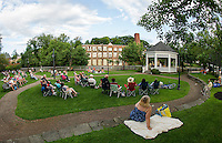 """A perfect evening for folks gathered at Rotary Park listening the soulful sounds of Sharon """"Sugar"""" Jones during Thursday's Concert by the River.    (Karen Bobotas/for the Laconia Daily Sun)"""
