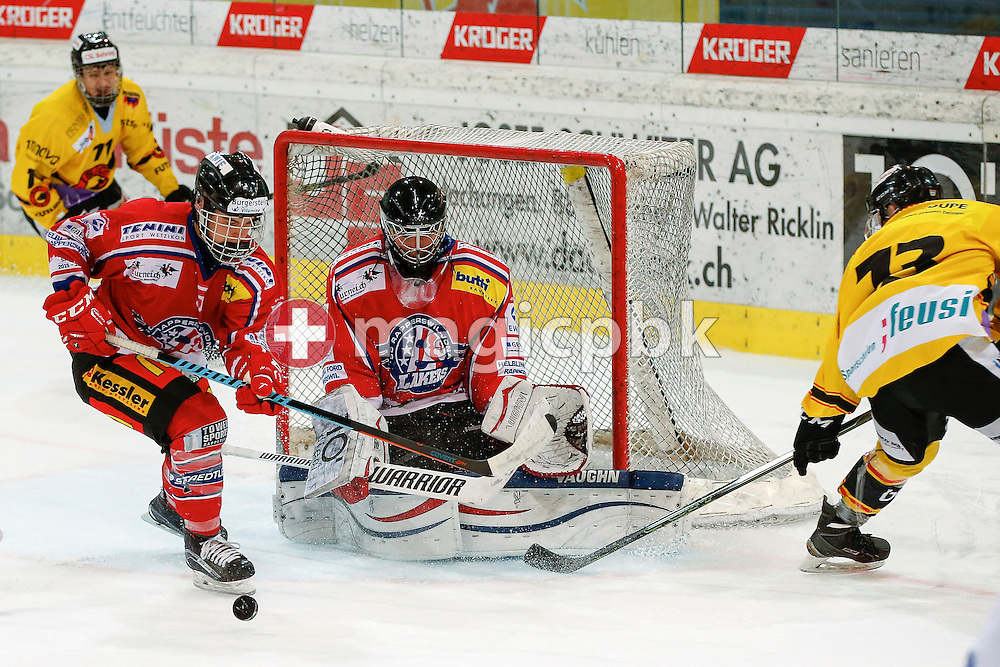 Rapperswil-Jona Lakers goaltender Beat TRUDEL and defenseman Janis MANSER (L) are pictured during a Novizen Elite ice hockey game between Rapperswil-Jona Lakers and SC Bern Future held at the Diners Club Arena in Rapperswil, Switzerland, Saturday, Feb. 6, 2016. (Photo by Patrick B. Kraemer / MAGICPBK)