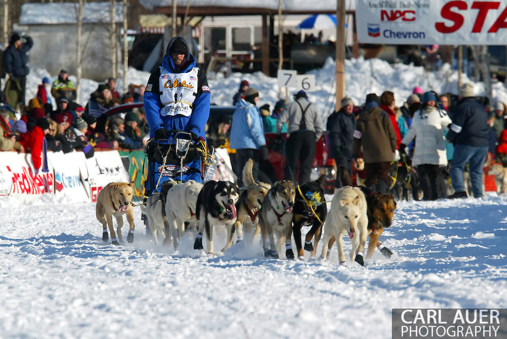 3/4/2007:  Willow, Alaska -  Veteran Jason Barron of Lincoln, MT heads across Willow Lake in the 35th Iditarod Sled Dog Race