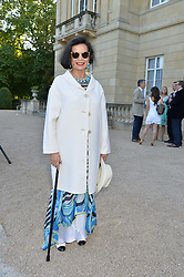 BIANCA JAGGER at the Quintessentially Foundation and Elephant Family 's 'Travels to My Elephant' Royal Rickshaw Auction presented by Selfridges and hosted by HRH The Prince of Wales and The Duchess of Cornwall held at Lancaster House, Cleveland Row, St.James's, London on 30th June 2015.