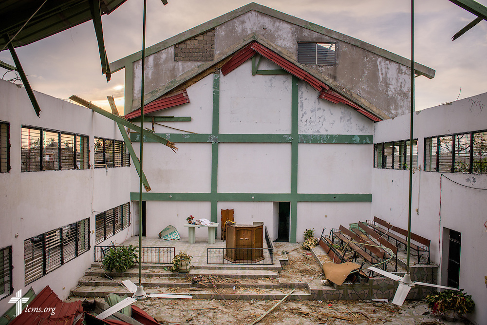 Damage from Hurricane Matthew to First Lutheran Church of Les Cayes on Tuesday, Oct. 11, 2016, in Haiti.   LCMS Communications/Erik M. Lunsford