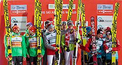 03.12.2016, Vogtland Arena, Klingenthal, GER, FIS Weltcup Ski Sprung, Klingenthal, Teambewerb, im Bild Team Deutschland, 2. Platz, Sieger Team Polen ud Team Österreich, 3. Platz // Team Germany, 2nd place, Winner Team Poland and Team Austria, 3rd place during the mens Team FIS Skijumping World Cup at the Vogtland Arena in Klingenthal, Germany on 2016/12/03. EXPA Pictures © 2016, PhotoCredit: EXPA/ JFK