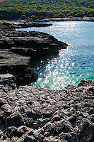 """Vista della scogliera di Porto selvaggio - Reportage fotografico di Alessandro Caniglia, Alessandro De Matteis e Dario Luceri - Il Parco Naturale Regionale di Porto Selvaggio è situato lungo la costa ionica e ricade nel comune di Nardò (Lecce). Definito come """"area di notevole interesse pubblico"""" già nel 1939, è stato effettivamente istituito come Parco nel 2004. I suoi limiti sono compresi tra la baia di Frascone (a nord) e la Torre dell'Alto (a sud). Ha una estensione complessiva di circa 1000 ettari.Porto Selvaggio è una delle zone tra le più incontaminate del litorale Ionico, con un paesaggio caratterizzato da una pineta di ca. 300 ettari e da una macchia mediterranea ricca di acacee e ginestre..Lungo la costa sono presenti molte cavità carsiche, con varie insenature, grotte sommerse.Per gli amanti della natura il paesaggio è estremamente suggestivo in ogni stagione: molto silenzioso e rilassante in autunno, inverno e primavera, ricco di colori e festoso in estate, con il canto delle cicale che accompagna i visitatori lungo i sentieri e di tratti di scogliera che portano fino alla spiaggia. Il mare limpido e azzurro, con un fondale ricco di flora e fauna marina, è spesso meta di numerosi subacquei."""