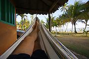 Playa Pui Puy. Corpomedina Cabañas. Heimo Aga relaxing in his mat.