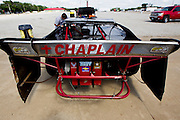 """Chaplain"" is seen written on the rear spoiler of Mark Penticuff's Late-Model Camaro car while in pit row at Lucas Oil Speedway on August 3, 2013 in Wheatland, Missouri. Penticuff is one of several racers who participate in the National Fellowship of Raceway Ministries as a chaplain for Southwest Missouri. (David Welker)"