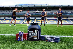 Perry Humphreys, Will Butler, Tom Howe and Ed Fidow of Worcester Warriors with Nutrition X - Mandatory by-line: Robbie Stephenson/JMP - 24/08/2020 - RUGBY - Sixways Stadium - Worcester, England - Worcester Warriors Sponsors 2020/21