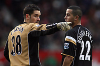 Photo: Paul Thomas.<br /> Manchester United v Charlton Athletic. The Barclays Premiership. 10/02/2007.<br /> <br /> Keeper Scott Carson (L) and Madjid Bougherra of Charlton try to sort their defence tactics.