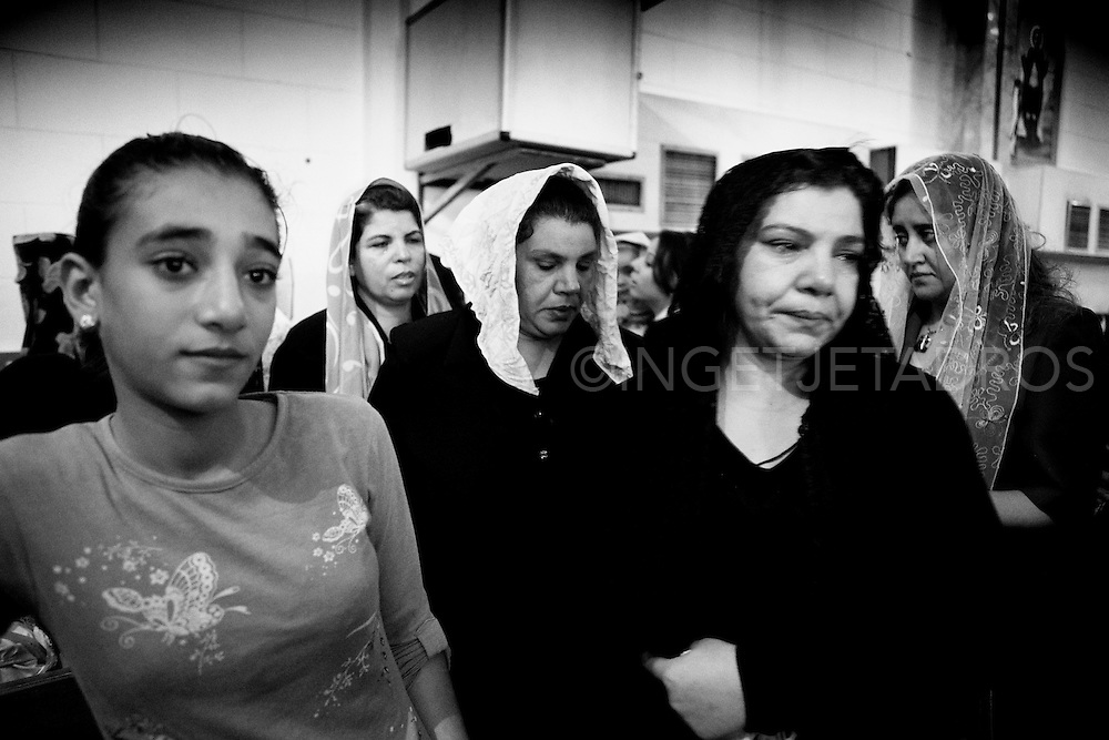 Family and friends at Medo's funeral. (Medo's mother front right). Nag Hamadi, Egypt.