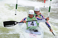 Great Britain's Timothy Baillie and Etienne Stott on their way to 4th place in the  C2 (Canoe double) mens final.   ICF Canoe slalom world cup at the Cardiff white water centre in Cardiff, South Wales on Sunday 10th June 2012.  pic by Andrew Orchard, Andrew Orchard sports photography,