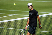 LONDON, ENGLAND - JULY 01: ROGER FEDERER (SUI) during practice day for the 2018 Wimbledon on July 1, 2018, at All England Lawn Tennis and Croquet Club in London, England. (Photo by Chaz Niell/Icon Sportswire)