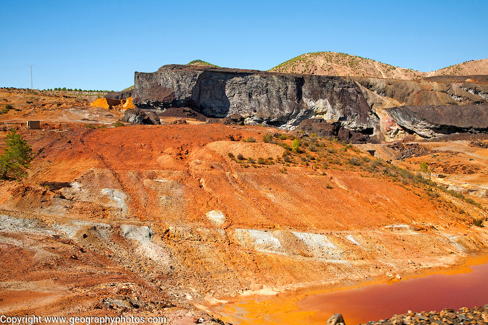 Lunar like despoiled landscape from opencast mineral extraction in the Minas de Riotinto mining area, Huelva province, Spain