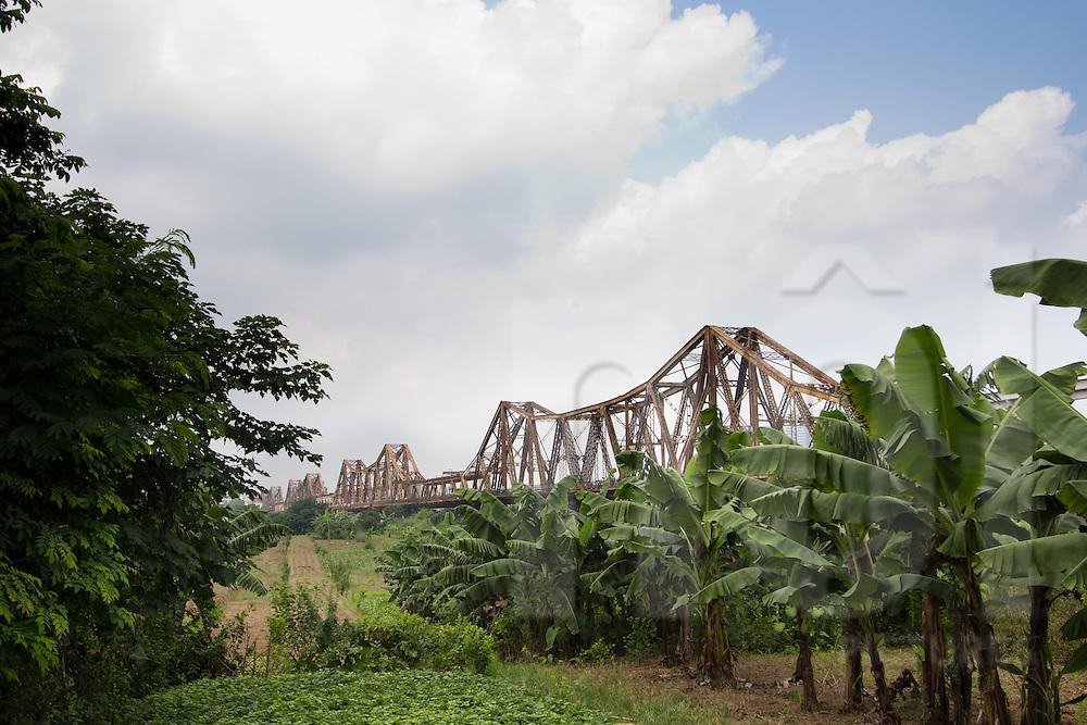 View of Long Bien bridge from Long Bien Island. Hanoi, Vietnam, Asia