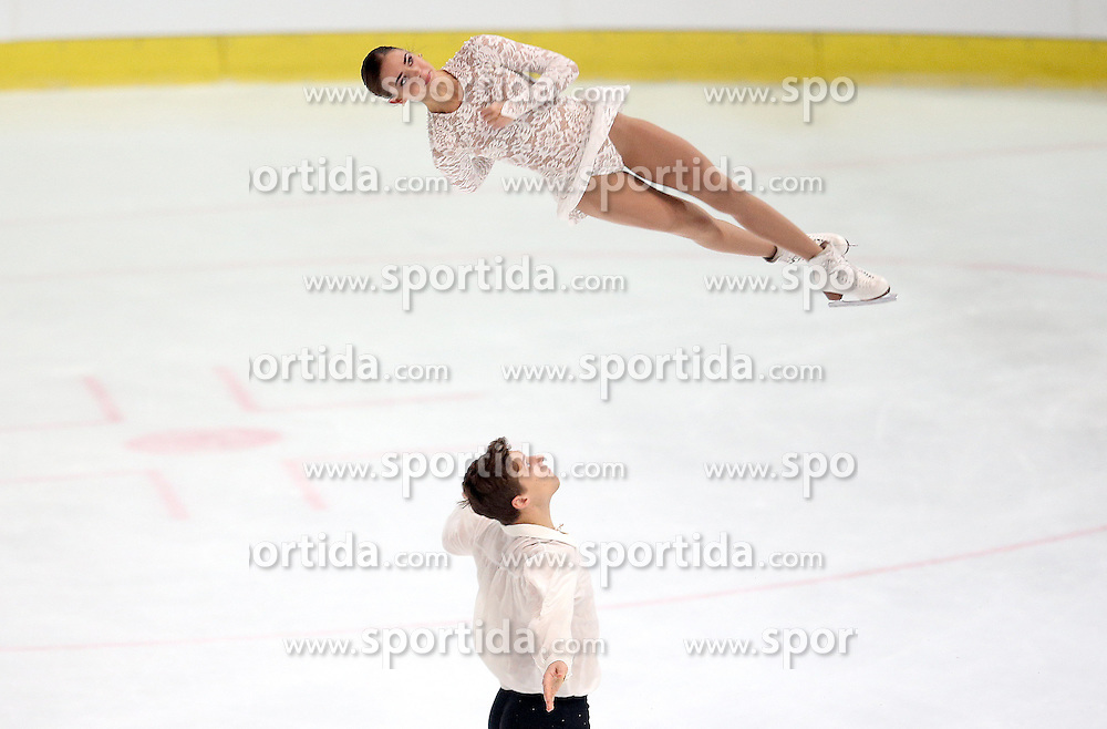 03.12.2015, Dom Sportova, Zagreb, CRO, ISU, Golden Spin of Zagreb, Kurzprogramm, Paare, im Bild Natalja Zabijako - Alexander Enbert, Russia // during the 48th Golden Spin of Zagreb 2015 Pairs Short Program of ISU at the Dom Sportova in Zagreb, Croatia on 2015/12/03. EXPA Pictures &copy; 2015, PhotoCredit: EXPA/ Pixsell/ Igor Kralj<br /> <br /> *****ATTENTION - for AUT, SLO, SUI, SWE, ITA, FRA only*****