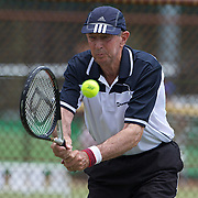 Alan Bailey, Australia, in action in the 80 Mens Singles during the 2009 ITF Super-Seniors World Team and Individual Championships at Perth, Western Australia, between 2-15th November, 2009.