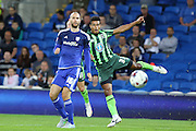 Lyle Taylor of AFC Wimbledon see his shot go wide during the Capital One Cup match between Cardiff City and AFC Wimbledon at the Cardiff City Stadium, Cardiff, Wales on 11 August 2015. Photo by Stuart Butcher.