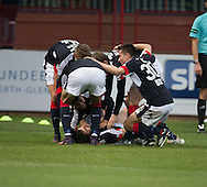 Dundee&rsquo;s Kostadin Gadzhalov is congratulated by team-mates after his goal - Dundee v St Johnstone in the Ladbrokes Scottish Premiership at Dens Park, Dundee - Photo: David Young, <br /> <br />  - &copy; David Young - www.davidyoungphoto.co.uk - email: davidyoungphoto@gmail.com