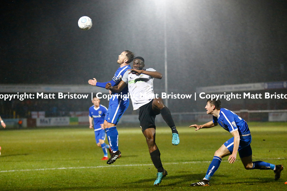 Dover's midfielder Nortei Nortey and Guiseleys forward James Roberts during the Vanorama National League match between Dover Athletic and Guiseley at Crabble Stadium, London, England on 27 January 2018. Photo by Matt Bristow.