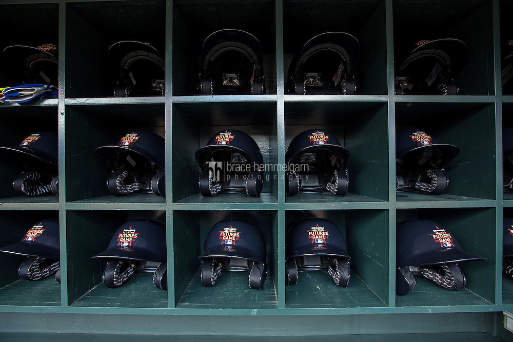 MINNEAPOLIS, MN- JULY 13: Futures Game helmets during the SiriusXM All-Star Futures Game at Target Field on July 13, 2014 in Minneapolis, Minnesota. (Photo by Brace Hemmelgarn) *** Local Caption ***