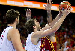 Pau Gasol of Spain vs Pero Antic of Macedonia during basketball game between National basketball teams of Spain and F.Y.R. of Macedonia in Semifinals  of FIBA Europe Eurobasket Lithuania 2011, on September 16, 2011, in Arena Zalgirio, Kaunas, Lithuania. Spain defeated Macedonia 92-80.  (Photo by Vid Ponikvar / Sportida)