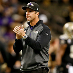 Nov 24, 2014; New Orleans, LA, USA; Baltimore Ravens head coach John Harbaugh prior to kickoff of a game against the New Orleans Saints at the Mercedes-Benz Superdome. Mandatory Credit: Derick E. Hingle-USA TODAY Sports