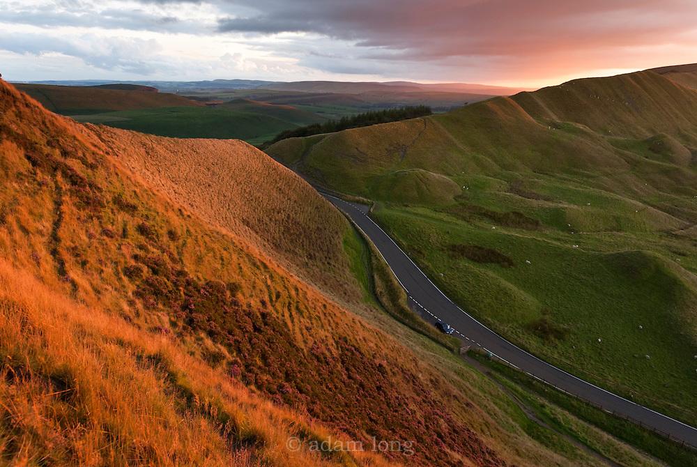 The narrow pass of Mam Nick at sunset, Mam Tor, Peak District