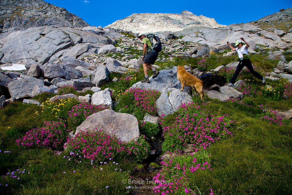 Bruce Maxwell and Lisa Rew hike in Cirque of the Towers, Wind River Range, Wyoming