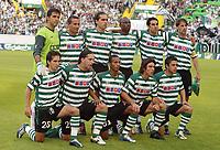 Fotball<br /> UEFA Cup-finalen 2004/2005<br /> Sporting Lisboa v CSKA Moskva 1-3<br /> 18.05.2005<br /> Foto: Dppi/Digitalsport<br /> NORWAY ONLY<br /> <br /> SPORTING TEAM (BACK ROW LEFT TO RIGHT: RICARDO / ROGERIO / BETO / JOSEPH ENAKARHIRE / MIGUEL GARCIA / PEDRO BARBOSA. FRONT ROW: JOAO MOUTINHO / FABIO ROCHEMBACK / LIEDSON / SA PINTO / RODRIGO TELLO )