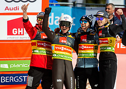 Winning team of Poland: Jakub Wolny (POL), Piotr Zyla (POL) , Kamil Stoch (POL) and  Dawid Kubacki (POL) celebrate during the Ski Flying Hill Team Competition at Day 3 of FIS Ski Jumping World Cup Final 2019, on March 23, 2019 in Planica, Slovenia. Photo by Vid Ponikvar / Sportida