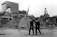 Police at the scene of the Provisional IRA explosion at the Drumkeen House Hotel, South Belfast, N Ireland, 25th August 1972. 109208250442a<br />
