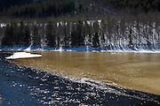 The ice melting on the river Nea in Tydal, Norway. Vårløsning. Våren kommer.