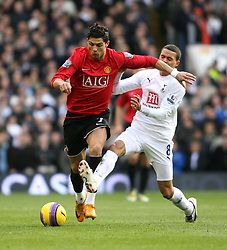 LONDON, ENGLAND - Saturday, February 2, 2008: Tottenham Hotspur's Jermaine Jenas and Manchester United's Cristiano Ronaldo during the Premiership match at White Hart Lane. (Photo by Chris Ratcliffe/Propaganda)