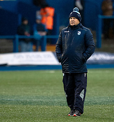 Head Coach John Mulvihill of Cardiff Blues during the pre match warm up<br /> <br /> Photographer Simon King/Replay Images<br /> <br /> European Rugby Champions Cup Round 4 - Cardiff Blues v Saracens - Saturday 15th December 2018 - Cardiff Arms Park - Cardiff<br /> <br /> World Copyright © Replay Images . All rights reserved. info@replayimages.co.uk - http://replayimages.co.uk