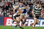 Leeds Rhinos centre Joel Moon (6)  during the Betfred Super League match between Hull FC and Leeds Rhinos at Kingston Communications Stadium, Hull, United Kingdom on 19 April 2018. Picture by Mick Atkins.