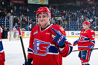 KELOWNA, CANADA - MARCH 13:  Egor Arbuzov #42 of the Spokane Chiefs smiles as he exits the ice after the OT win against the Kelowna Rockets on March 13, 2019 at Prospera Place in Kelowna, British Columbia, Canada.  (Photo by Marissa Baecker/Shoot the Breeze)