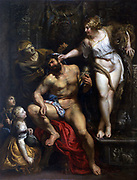 Hercules and Omphale' 1606. In Greek legend Hercules was bound a slave for three years to Omphale, queen of  Lydia. Peter Paul Rubens (1577-1640) Flemish painter. Oil on canvas