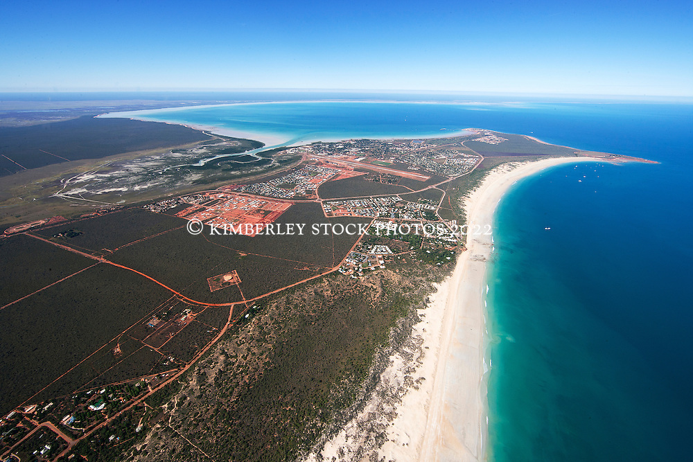 Aerial view of Roebuck Bay and Broome's Cable Beach